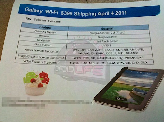 galaxy tab wifi abril