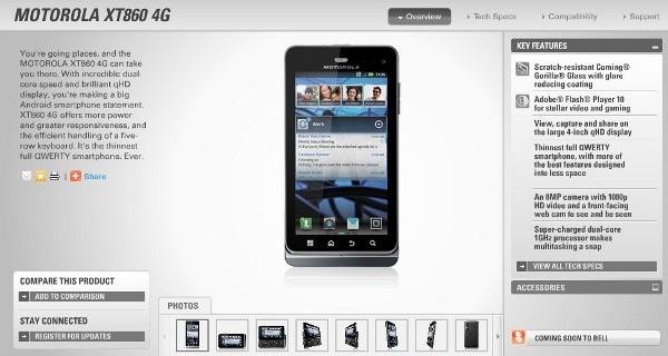 Motorola Milestone 3 llega como Motorola XT860 4G a Canadá
