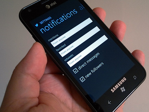 Twitter Windows Phone notificaciones push
