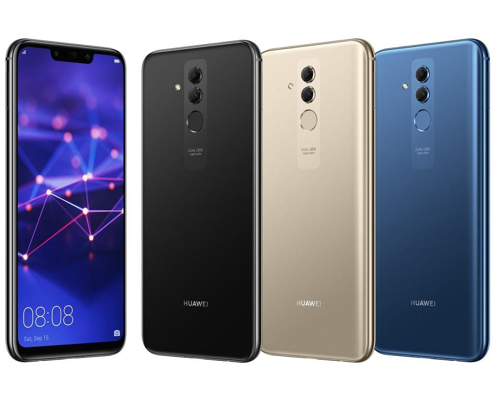 Frente y dorso del Huawei Mate 20 Lite en tres colores diferentes